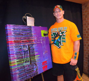 John Cena with 500th Wish Painting - Jeff Hanson